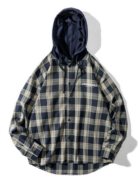 new Plaid Letter Print Colorblock High Low Hooded Shirt - COFFEE 2XL Mobile