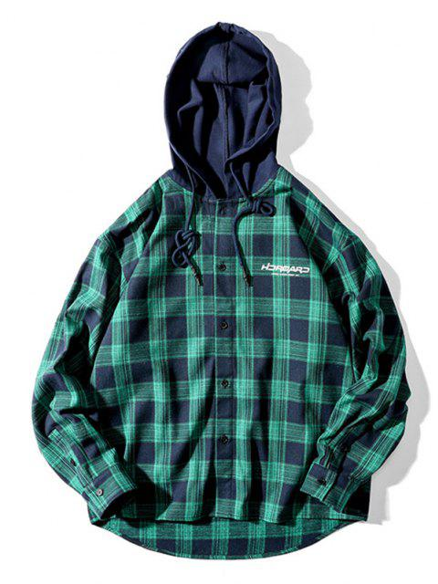 buy Plaid Letter Print Colorblock High Low Hooded Shirt - DARK GREEN L Mobile