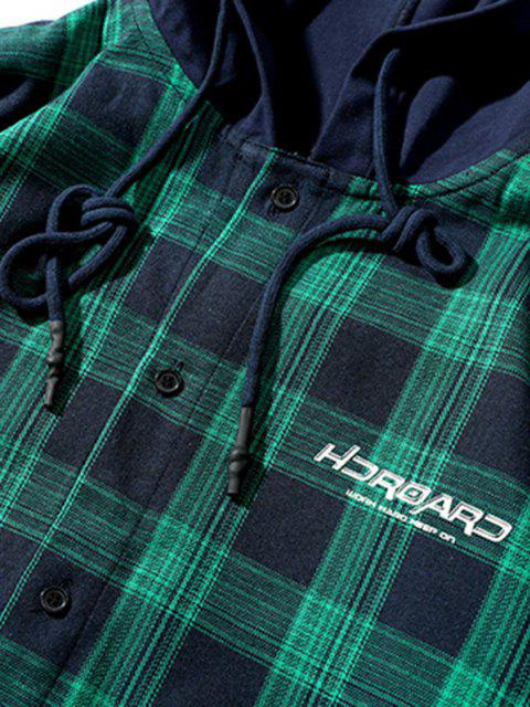buy Plaid Letter Print Colorblock High Low Hooded Shirt - DARK GREEN M Mobile