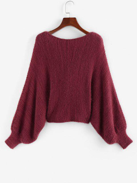 ZAFULドルマンスリーブフロントツイストセーター - 深い赤色 M Mobile