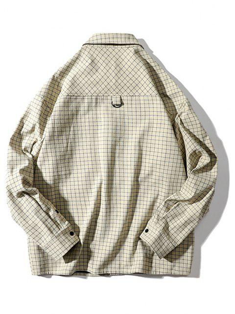 タータン文字柄ポケット長袖シャツ - ベージュ 2XL Mobile