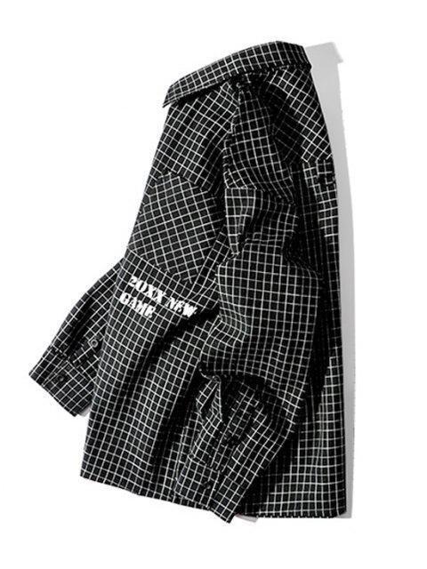 affordable Tartan Letter Graphic Pocket Long Sleeve Shirt - BLACK 3XL Mobile