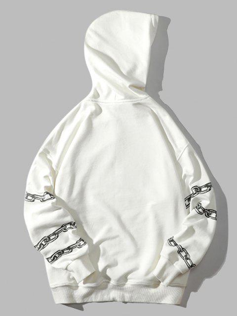 online Chain Letter Butterfly Drop Shoulder Hoodie - WHITE M Mobile