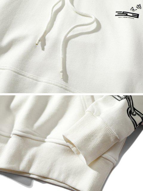 Sweat à Capuche Lettre Papillon à Goutte Epaule avec Chaîne - Blanc L Mobile