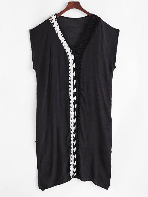 chic Bicolor Crochet Plunging Slit Cover Up Dress - BLACK ONE SIZE Mobile