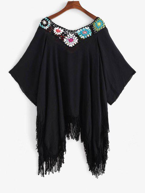 fancy Flower Crochet Fringed Raglan Sleeve Handkerchief Cover Up Dress - BLACK ONE SIZE Mobile