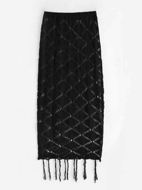 womens Openwork Fringed Knitted Maxi Beach Skirt - BLACK ONE SIZE Mobile