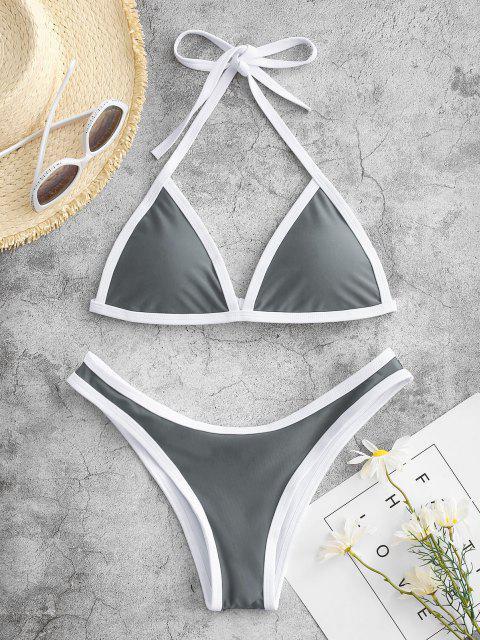 ladies High Cut Contrast Piping Bikini Set - GRAY M Mobile