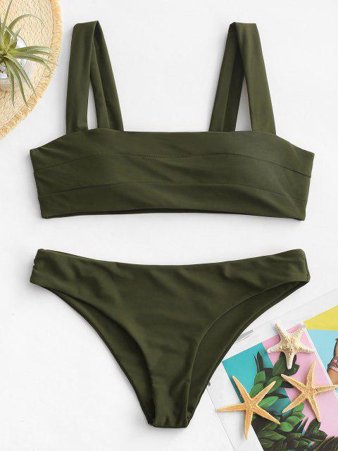 unique Padded Wide Straps Bandeau Bikini Set - ARMY GREEN M Mobile
