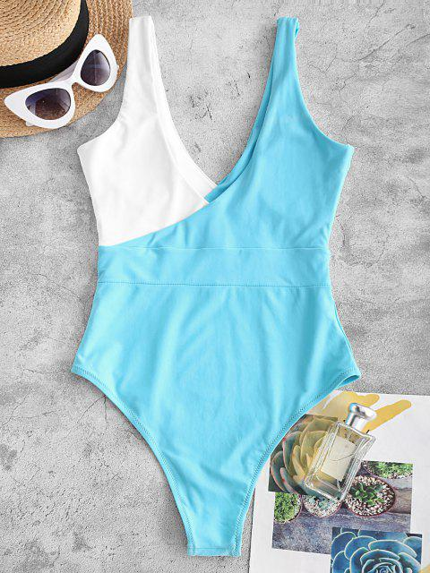 shop ZAFUL Bicolor Plunging One-piece Swimsuit - LIGHT BLUE S Mobile