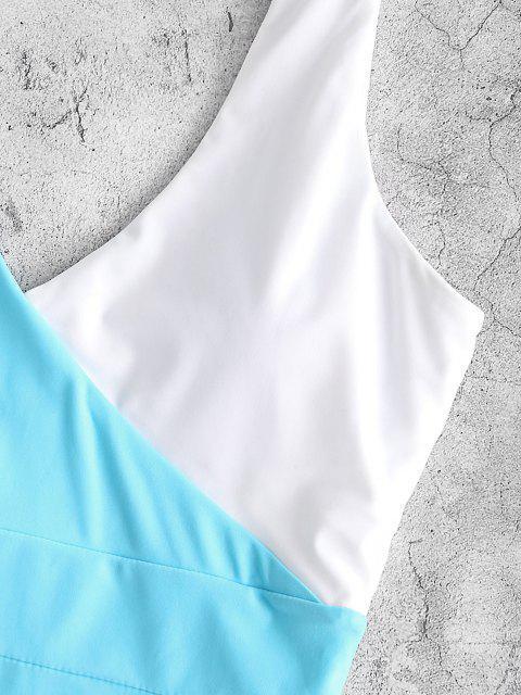 ZAFUL Bañador de Una Pieza con Escote Pico de Color Bloque - Azul claro S Mobile