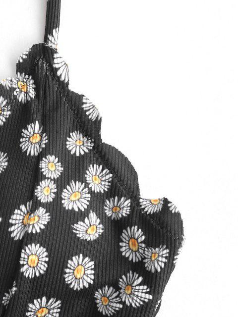 Costume da Bagno Bikini Smerlato di ZAFUL a Costine Floreale - Nero M Mobile