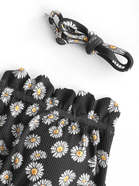 fancy ZAFUL Ribbed Floral Print Scalloped Cutout Bikini Swimwear - BLACK S Mobile