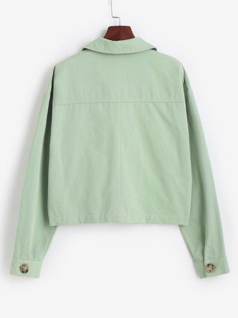 shop ZAFUL Tortoiseshell Button Cargo Jacket - LIGHT GREEN S Mobile