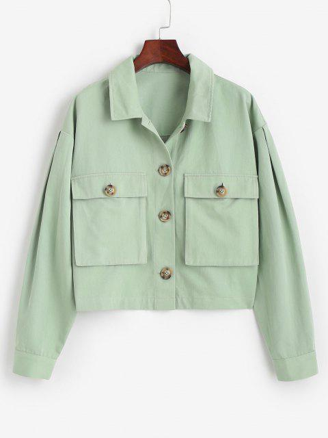 latest ZAFUL Tortoiseshell Button Cargo Jacket - LIGHT GREEN XL Mobile
