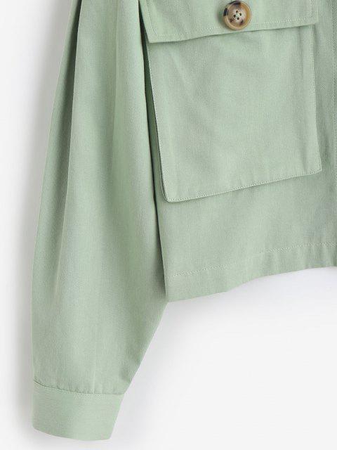 sale ZAFUL Tortoiseshell Button Cargo Jacket - LIGHT GREEN M Mobile