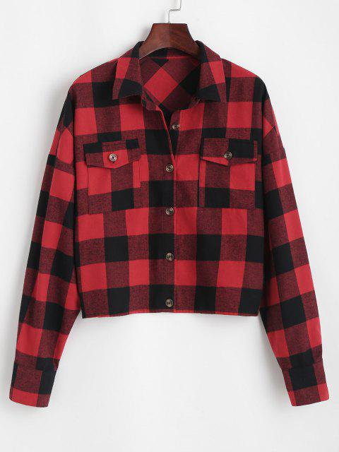 chic ZAFUL Plaid Casual Shirt - RED M Mobile