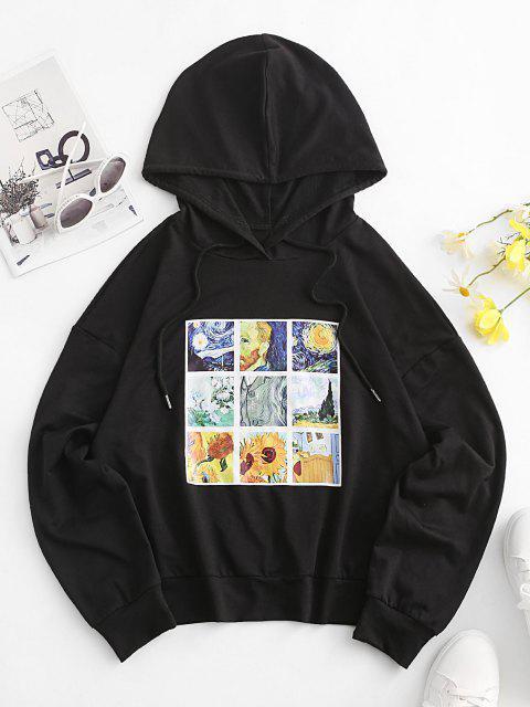 women ZAFUL Sunflower Galaxy Art Print Drop Shoulder Hoodie - BLACK M Mobile