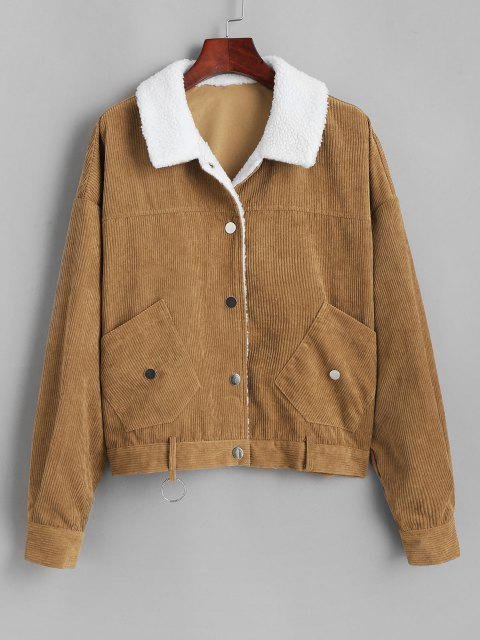 ZAFUL Shearling Lined O Ring Corduroy Jacket - قهوة S Mobile
