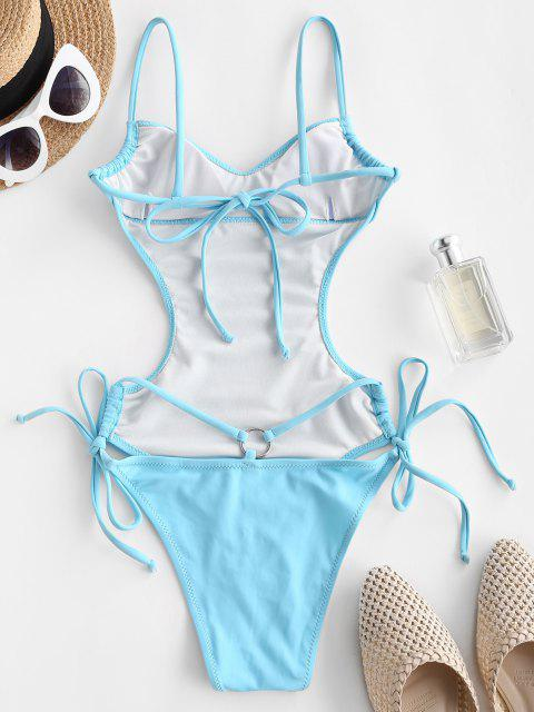 ladies ZAFUL Backless Drawstring O Ring One-piece Swimsuit - LIGHT BLUE L Mobile
