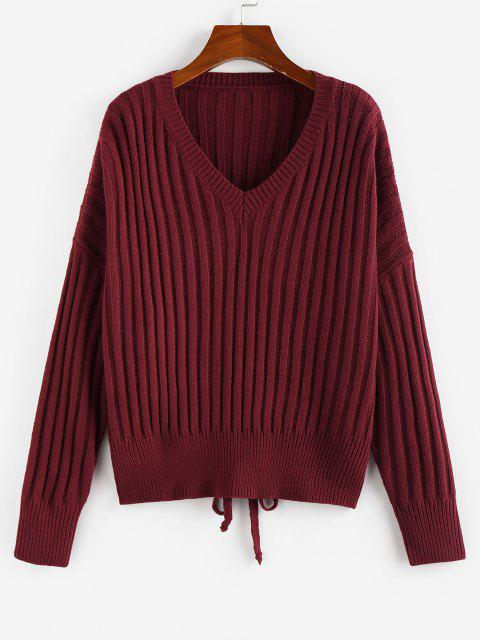 affordable ZAFUL Ribbed Lace Up Drop Shoulder Jumper Sweater - DEEP RED M Mobile