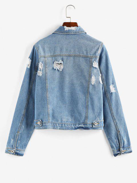 ZAFUL Distressed Button Up Denim Jacket - أزرق M Mobile