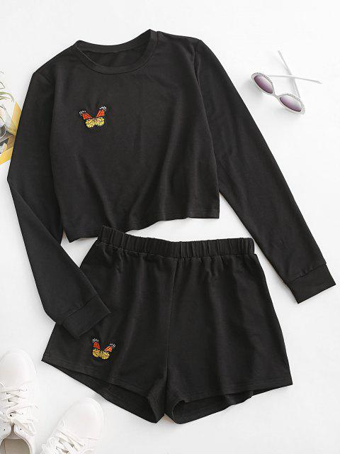 online ZAFUL Butterfly Embroidered Long Sleeve Shorts Set - BLACK S Mobile