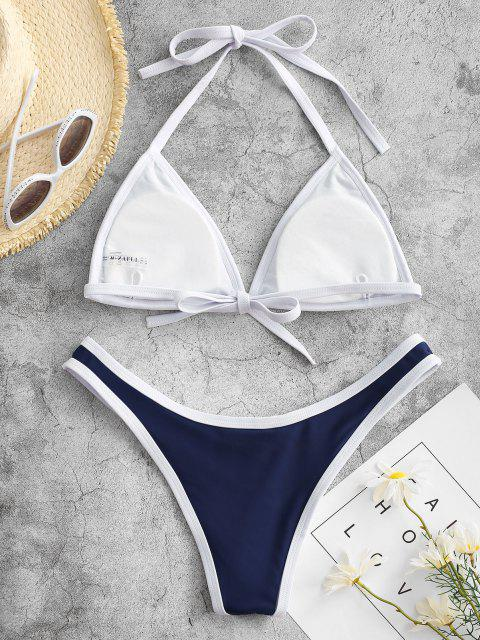 womens High Cut Contrast Piping Bikini Set - NAVY M Mobile