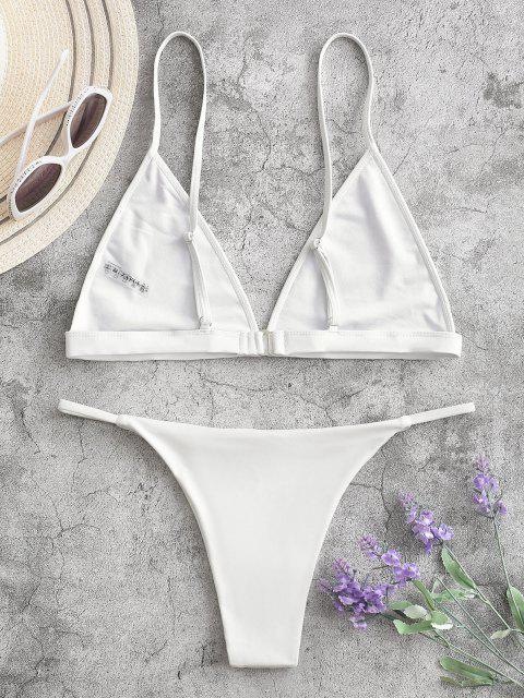 Traje de Bikini con Escote Pico con Cordón con Relleno - Blanco L Mobile