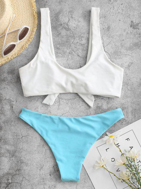 ladies Padded Knotted Bralette Bikini Set - BLUE AND WHITE L Mobile