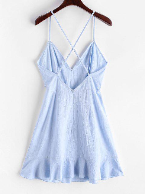 shop Olivia Messler X ZAFUL Ruffles Criss Cross Solid Cami Dress - PASTEL BLUE S Mobile