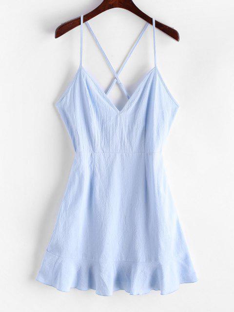 ZAFUL Kreuzes und Queres Kleid mit Hochdrückene Rüschen - Pastellblau M Mobile
