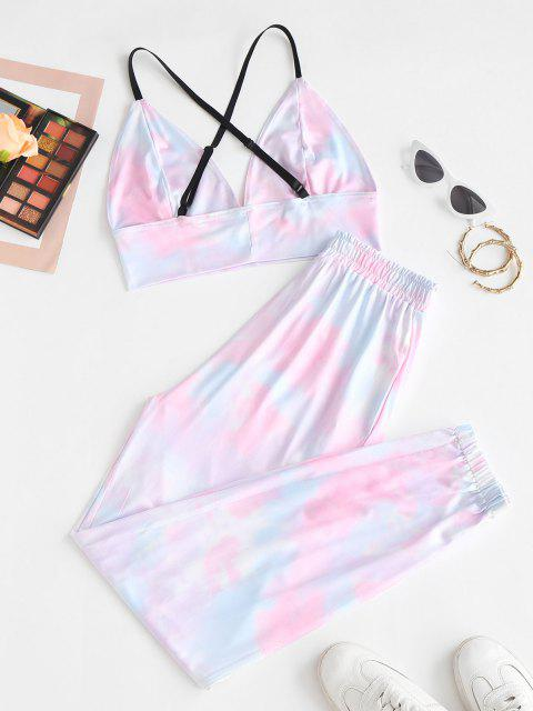 affordable Tie Dye Crisscross Two Piece Pants Set - LIGHT PINK S Mobile