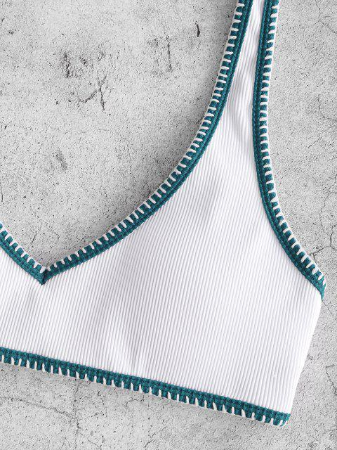 fashion ZAFUL Ribbed Contrast Whip Stitching Tank Bikini Swimwear - WHITE S Mobile