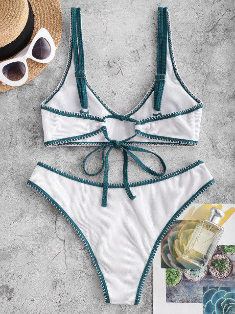 chic ZAFUL Ribbed Contrast Whip Stitching Tank Bikini Swimwear - WHITE M Mobile