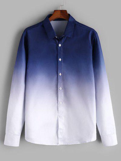 ZAFUL Camisa De Impressão De Mangas Compridas Com Botão - Azul 2xl