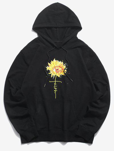Daisy Floral Graphic Front Pocket Pullover Hoodie - Black 2xl