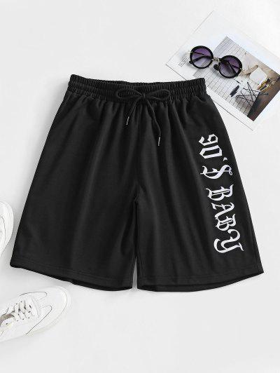 ZAFUL Letter Graphic Drawstring Bermuda Shorts - Black S