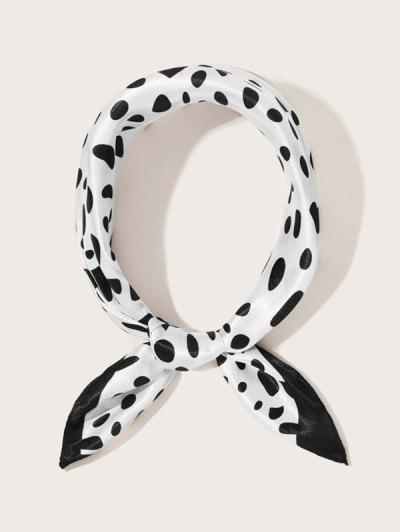 Dalmatian Dot Print Satin Scarf - White