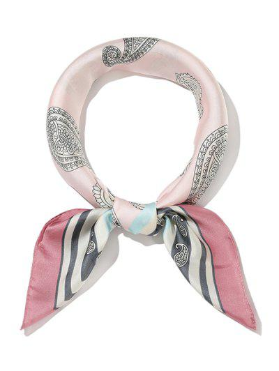 Paisley Print Square Satin Scarf - Pink