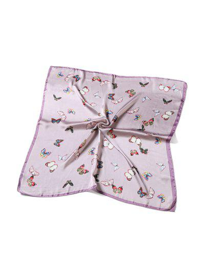 Butterfly Pattern Satin Square Scarf - Pink