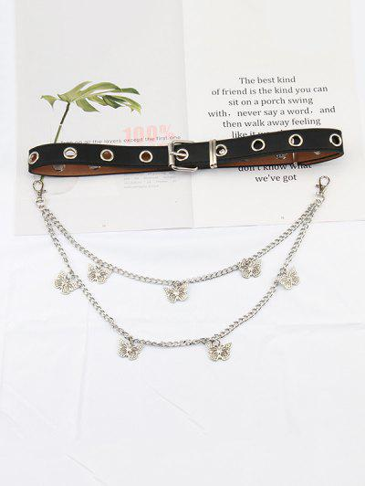 Layered Chain Butterfly Pendant Belt - Multi-a