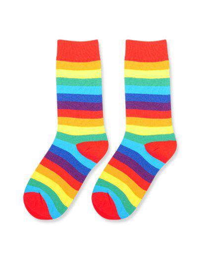 Rainbow Stripes Mid-calf Socks - Multi-a