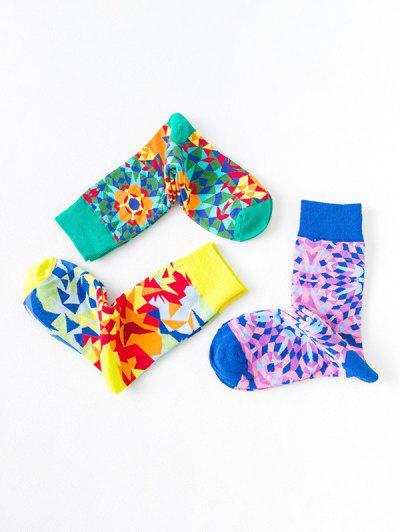 3Pairs Kaleidoscope Print Mid-calf Socks - Multi-a