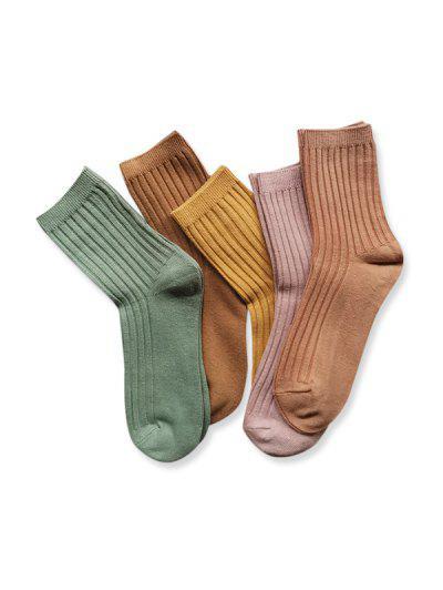 5 Pairs Winter Ribbed Crew Socks Set - Multi