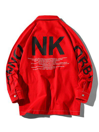 Letter Graphic Print Stitching Raglan Sleeve Jacket - Red M