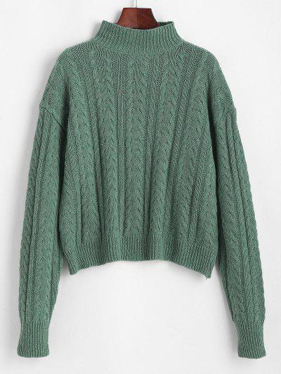 High Neck Drop Shoulder Cable Knit Sweater - Light Green