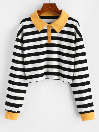 Half Buttoned Cropped Contrast Stripes Sweatshirt - Black L