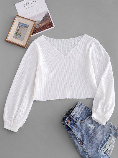 Lantern Sleeve Raw Trim Solid Sweater - White M