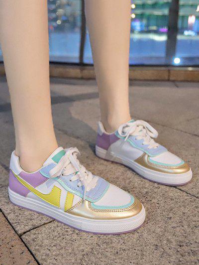 Colorblock Leather Casual Skate Shoes - Purple Flower Eu 40
